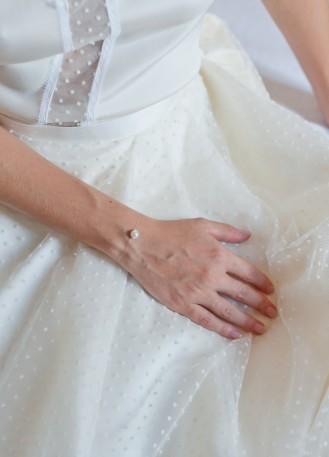 """Bracelet mariage """"Perle"""" simple avec perle nacrée"""