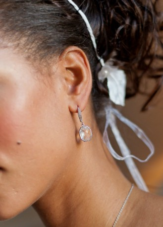 """Boucles d'oreilles mariée """"Louise"""" avec sertis rétro"""
