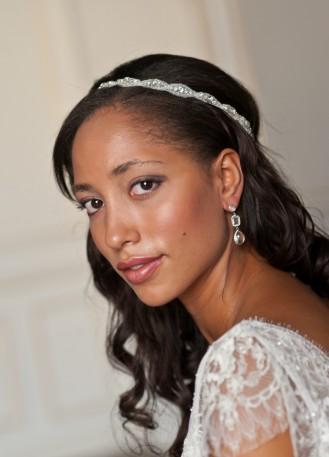 """Lucie"" Headband de mariée au motif fin en strass"