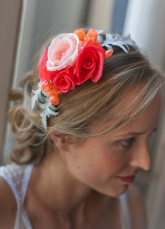 Demi-couronne ou départ de voile en fleurs de soie