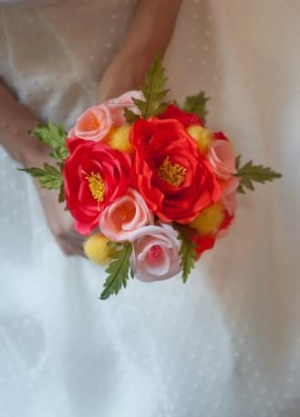 """Bouquet de mariée en fleurs de soie faites-main """"Clémentine"""""""