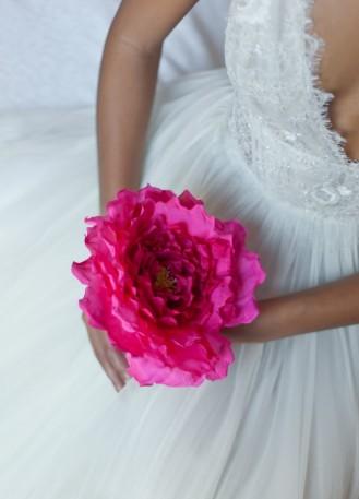 """Bouquet de mariée fleur unique en soie """"Lilly"""""""