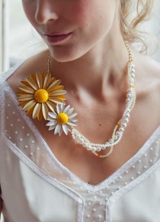 """""""Marjorie"""" Collier de mariée rétro avec perles et broches fleurs vintage"""